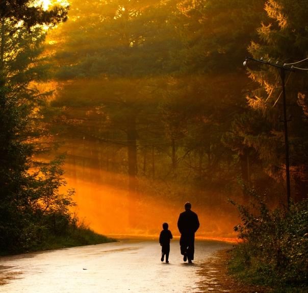 Father-son-walk-daylight